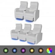 vidaXL Canapea rabatabilă LED 2+3 locuri piele artificială 2 piese alb