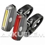 Kerékpárlámpa szett első+hátsó 2x1W COB LED + 4xCR2032 elem P3922