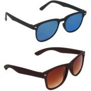 Zyaden Blue Rectangular UV Protection Unisex Sunglasses Combo
