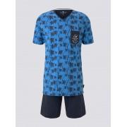 TOM TAILOR Pyjama met palm top en korte broek, blue-medium-allover, 54/XL