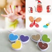 EH 12PCS / SET Pequeño Caramelo Color Corazón Forma Inkpad DIY álbum Scrapbooking Sello - 12 Colores
