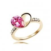Szívet formázó, nagy kristályos gyűrű