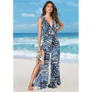 Slit LEG Jumpsuit Cover-Up Cover-ups - White/black/multi/blue