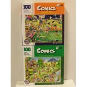 "Bundle of Two ""Comics"" 100 Piece Jigsaw Puzzles Including: Anyone for Tennis & Golf Safari by Papercity Puzzles (finished puzzle measures 9""x12"") by Papercity Puzzles"