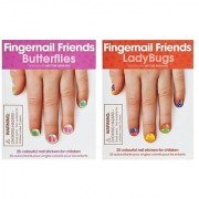 Fingernail Friends Colorful Nail Stickers Nail Art for Children Ladybugs & Butterflies (50 Stickers)