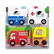 ELECTROPRIME Colorful Cars Chunky Wooden Puzzle Jigsaw Puzzles Children Intellectual Toy