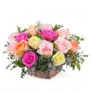 Centro de rosas multicolor - Flores a Domicilio
