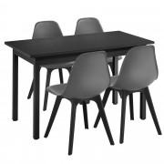 [en.casa]® Mesa de comedor de diseño elegante - 120cm x 60cm x 75cm - Con Set de 4 Sillas - 83cm x 54cm x 48cm - Con protección del suelo - Mesa Negra - Sillas Grises