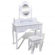 vidaXL Masă de toaletă cu oglindă și taburet, 7 sertare, alb