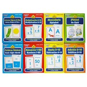 School Zone Spanish English Bilingual Flash Cards 8-Pack (Addition, Subtraction 0-10, Multiplication 0-20, Go Fish, Alphabet, Numbers 1-50, Basic Sight Words, & Colors & Shapes