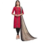 Polly Trends Women's Cotton Salwar Kameez Suits Unstitched Dress Material with chiffon dupatta (PINK & BLACK)