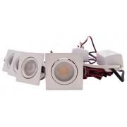 LED Set 4-Inbouwspots - 4W - Wit - Vierkant