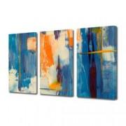 Tablou Canvas Premium Abstract Multicolor Orange Alb Albastru Decoratiuni Moderne pentru Casa 3 x 70 x 100 cm