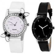 Slim & Shiny Look Black & White butterfly on diamond studded case analog 71440 Standard Quality Premium Colllection