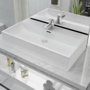 vidaXL Chiuvetă baie, orificiu robinet, ceramică, 76x42,5x14,5 cm, alb