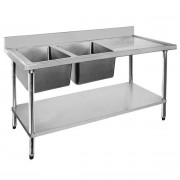 Stainless Sink 1500 W x 600 D with Double Left Bowls and 100mm Splashback