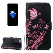 Para IPhone 8 Y 7 Voltaje Caballo Loco Textura Horizontal Flip Funda De Cuero Con Soporte Y Ranuras Para Tarjetas Y Billetera Y Lanyard (negro)