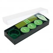 Set 3 lumanari si betigase parfumate, Everestus, LPD09, sticla, ceramica, verde, laveta inclusa