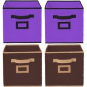 Billion Designer Non Woven 4 Pieces Large Foldable Storage Organiser Cubes/Boxes (Coffee & Purple) - CTKTC35280 CTKTC035280(Coffee & Purple)