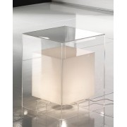 Comodino Tavolino Luminoso bianco e trasparente