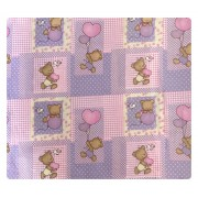 Paturica dubla de vara bebelusi DeLuxe 98x78 cm ursuleti pe roz