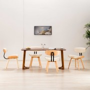 vidaXL Трапезни столове, 4 бр, кремави, извито дърво и изкуствена кожа
