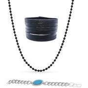Black Leatherite Bracelet With Black Ball Chain And A Salman Bracelet Silver Combo Value For Money For Men