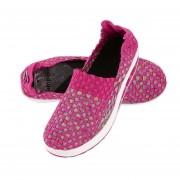 Las mujeres Sneakers transpirable tejido ligero Slip-on zapatos con suela gruesa Rosa roja