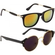 NuVew Round, Wayfarer Sunglasses(Blue, Golden, Violet, Orange)