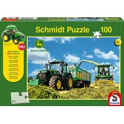 John Deere Schmidt 7310R Tractor and 8600I Forage Harvester Jigsaw Puzzle with Siku Model (100-Piece)