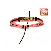 The Elite Store Presents Pink Colour Leather Friend Friendship Wrist Band-Festive Offer- 4 Colours Wrist Bands
