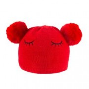 Caciula tricotata fete model Pisica C418-61 rosu 5-7 ani