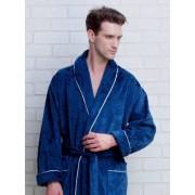 PECHE MONNAIE Элегантный мужской халат из плотной махровой ткани синего цвета с рисунками слоников + тапочки в подарок PECHE MONNAIE №923 Синий
