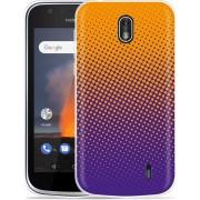 Nokia 1 Hoesje oranje paarse cirkels