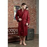 Five Wien Нежный удлиненный мужской халат из шелка бордового цвета Five Wien FW1036 Бордо