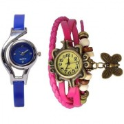 Round Dial Multi Leather PU Analog Watch For Women (Combo of 2) 6 month warranty