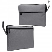 Splash-proof Nylon Fabric Soft Plush Lining Sleeve Bag for 15.6-inch Laptop - Grey