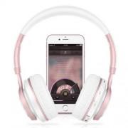 BT08 Vezeték nélküli Bluetooth fejhallgató - Beépített mikrofon, FM rádió, 3,5mm AUX kimenet, Bluetooth 4.0 - FEHÉR / ROSE GOLD