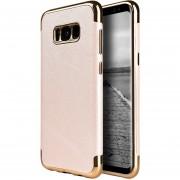 Funda Case Para Samsung S8 Plus Tipo Piel Saffiano Con Bordes Cromados - Rosa