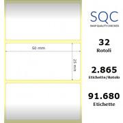 Etichette SQC - Carta termica protetta (bobina), formato 50 x 25