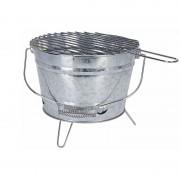 Merkloos Ronde houtskool bbq / barbecue emmer zink 28 cm