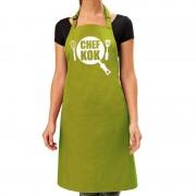 Bellatio Decorations Chef kok barbeque schort / keukenschort lime groen dames