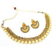 Golden Big Pearl Double Stone Tilak Necklace Set