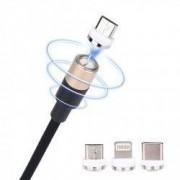 Cablu de date / incarcare magnetic 3 in 1 Micro USB Type-C Lightning 1m textil Auriu BBL898