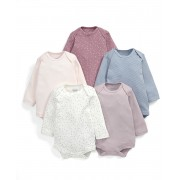 Mamas&Papas - Set Body cu maneca lunga Slash Pink, 5 buc