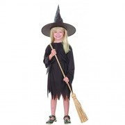 Witch Halloween Costumes Girl (Age 7-8 Years) Black Fly Gown + Witch Cap Fancy Dress Costume Dress | Party | School Events | Fancy Dress | Birthday | B'day Party | Gift | Baby Show