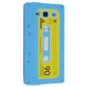Cassette Tape Style Silicone Case for Samsung I9300 Galaxy S3 - Samsung Soft Cover (Sky Blue/Yellow)