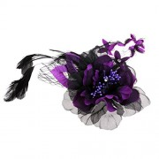 ELECTROPRIME Fabric Flower Mesh Pin Corsage Flowers Brooch Hair Pins with Barrette Purple