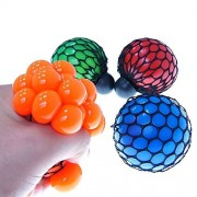 Lanlan 1Pcs Soft Rubber Anti Stress Face Reliever Grape Ball Autism Mood Squeeze Relief Soothing Fidgets Healthy Funny Tricky Toy Funny Geek Gadget Vent Toy For Children and Adults Random Color