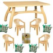 Mobiler terasa masa 70x115 cm cu 4 scaune Jokei, culoare bej, 4 perne scaun, fata de masa 150x220cm, King, B001200